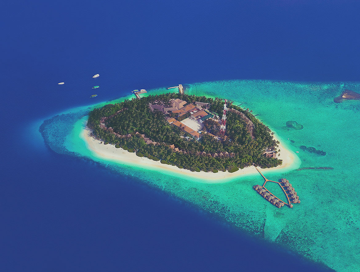 image of beautiful island with resorts, used in SEO, Marketing, and Web design